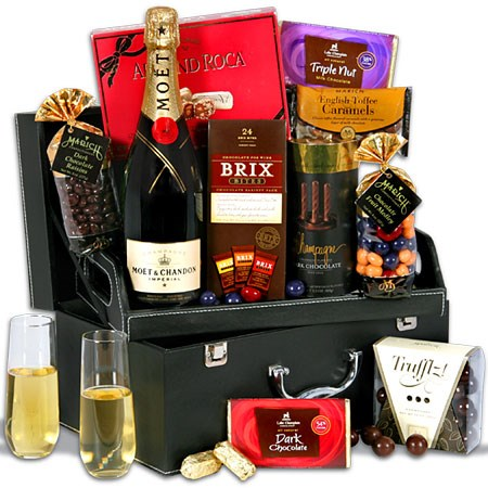 Champagne & Chocolate Suitcase Real Estate Client Gift