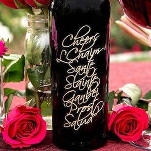 Wine in a Cheers Holiday Greeting Etched Bottle