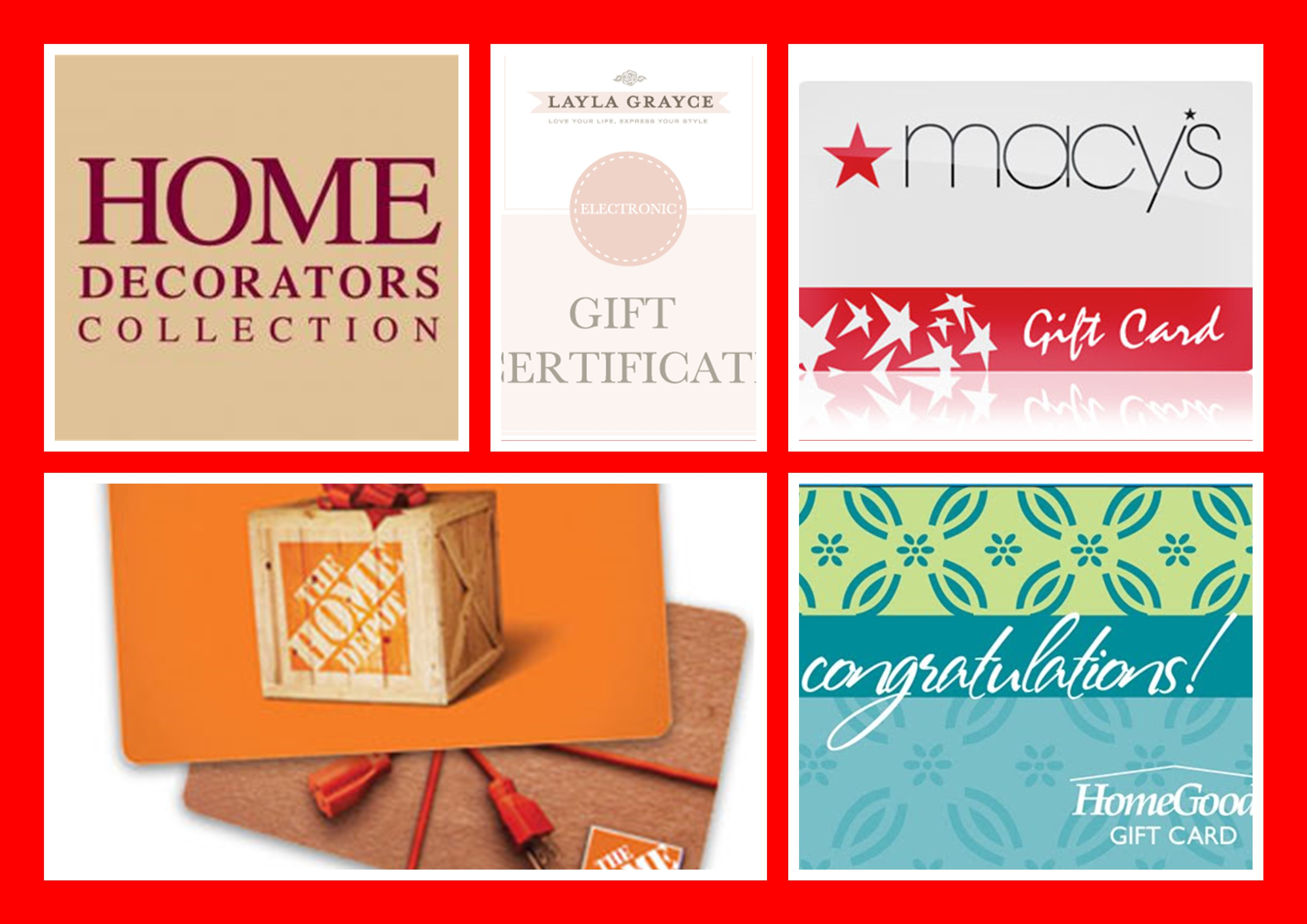 Real Estate Client Home Improvement and Home Decor Gift Cards