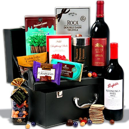 Red Wine Duo & Chocolate Suitcase Real Estate Client Gift