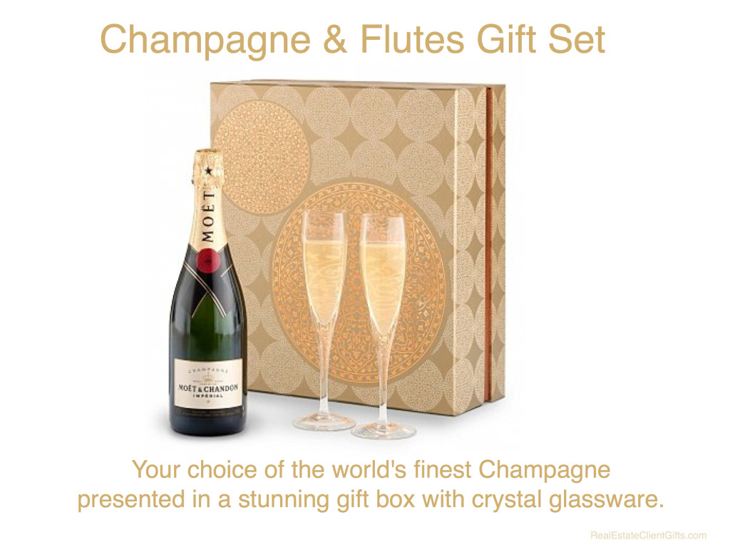 Champagne & Flutes Gift Set Realtor Housewarming Thank You Gift