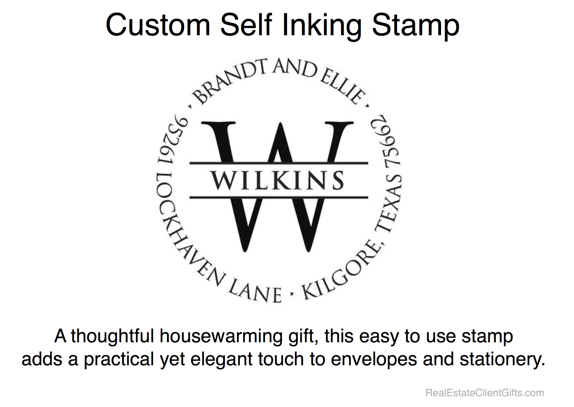 Custom Self Inking Stamp - Realtor Housewarming Thank You Gift