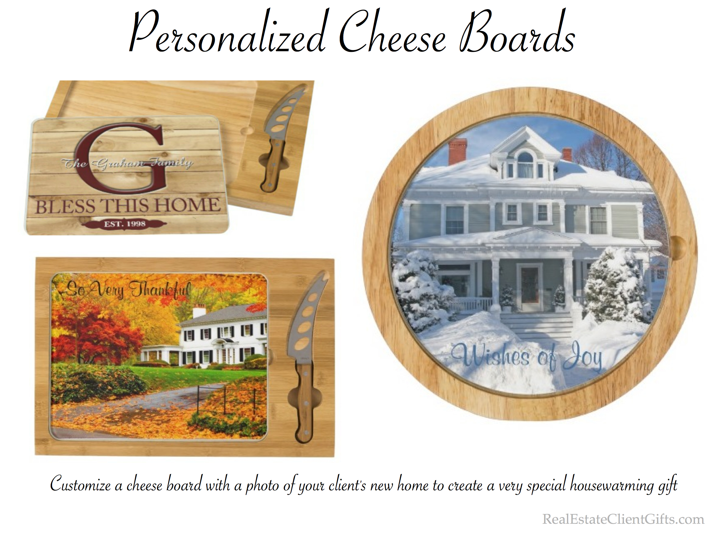 Personalized Cheese Board Real Estate Client Housewarming Gift