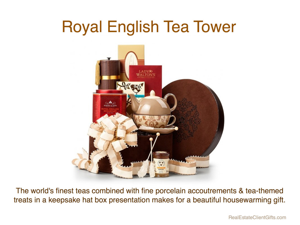 Royal English Tea Tower Realtor Client Housewarming Thank You Gift