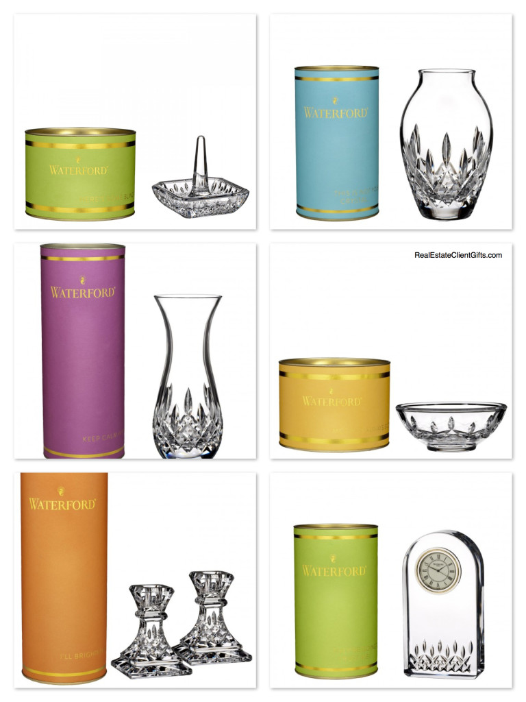 The Waterford Giftology Collection epitomizes beautiful realtor gifts - classically elegant presents packaged in colorful gift boxes with touches of opulence!