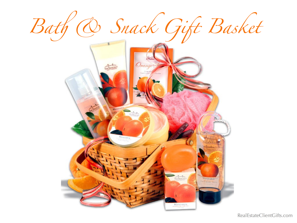 Bath & Snack Gift Basket Realtor Closing Housewarming Gift, Best Spa Gifts