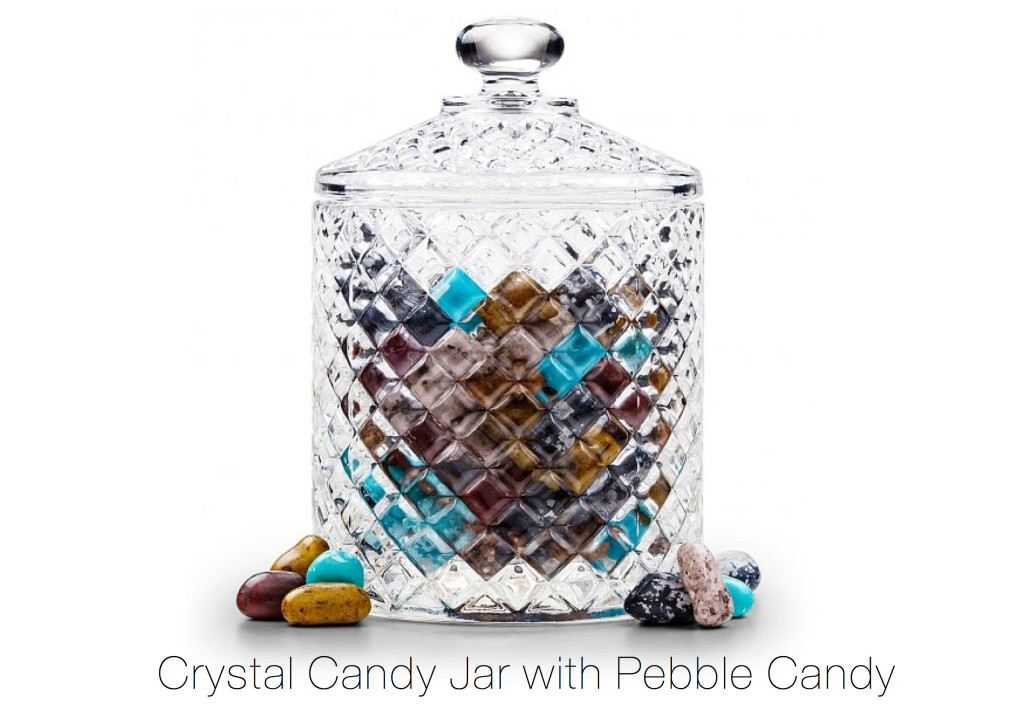 Crystal Candy Jar with Pebble Candy Realtor Closing Gift