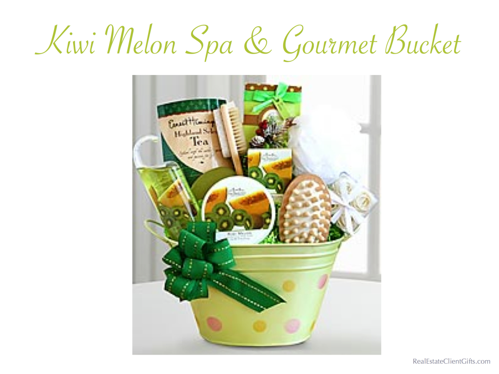 Kiwi Melon Spa & Gourmet Bucket Realtor Closing Gift, Best Spa Gifts