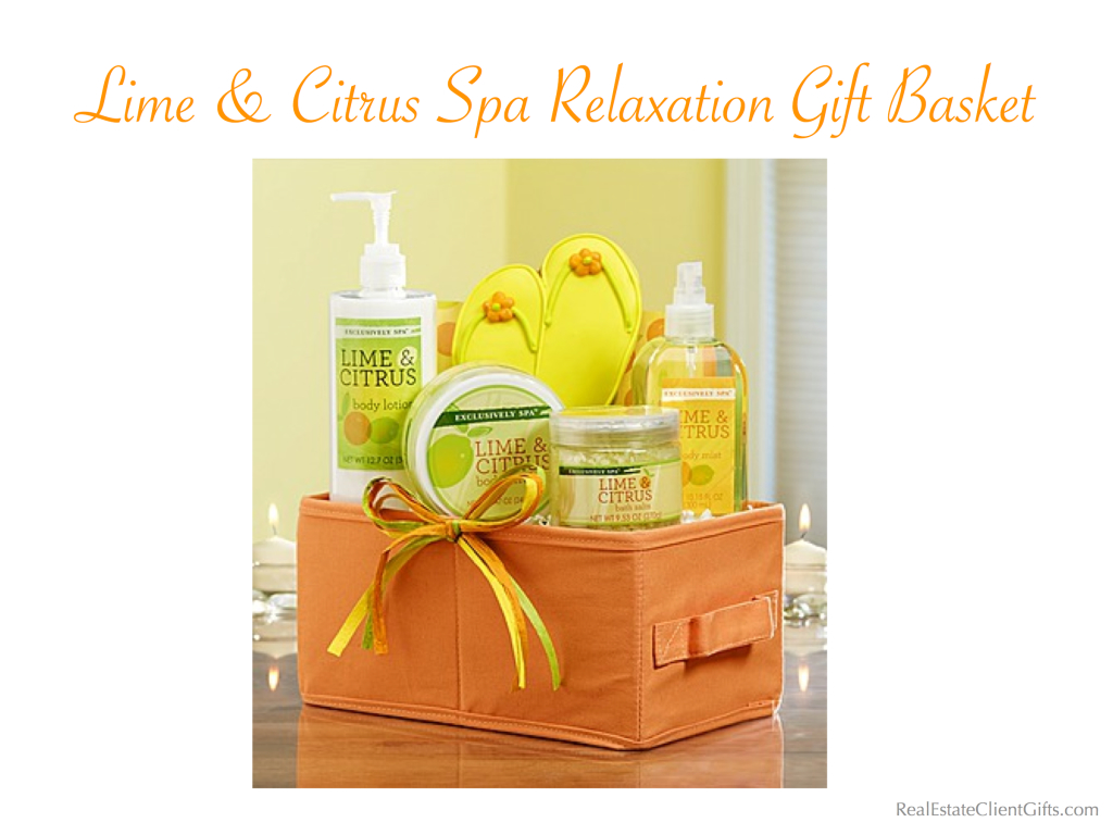 Lime & Citrus Spa Relaxation GiftBasket Realtor Closing Gift, Best Spa Gifts