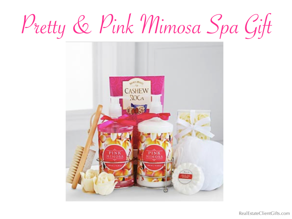 Pretty & Pink Mimosa Spa Realtor Housewarming Gift, best spa gifts