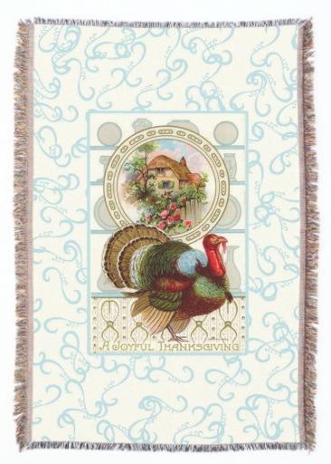 Vintabe Thanksgiving Turkey and Cottage Throw Blanket, Seasonal Housewarming Gifts
