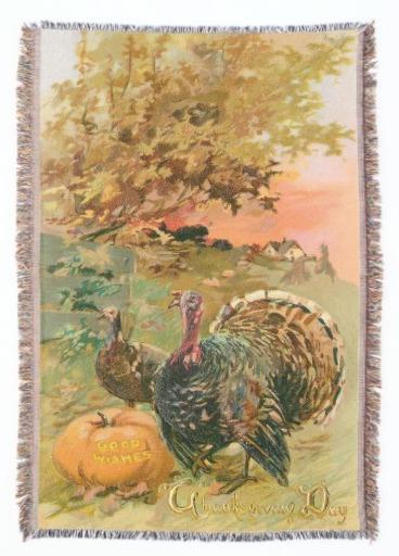 Vintage Rustic Thanksgiving Turkeys Throw Blanket, Seasonal Housewarming Gifts