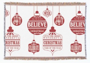 modern vintage christmas ornaments throw blanket, Seasonal Housewarming Gifts