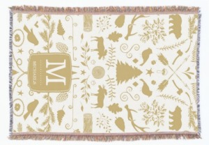 personalized woodland holiday throw blanket, Seasonal Housewarming Gifts