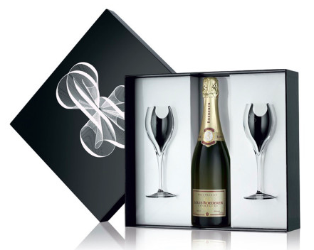 Louis Roederer Brut Premier Gift box with 2 Glasses, Wine and Champagne Gifts