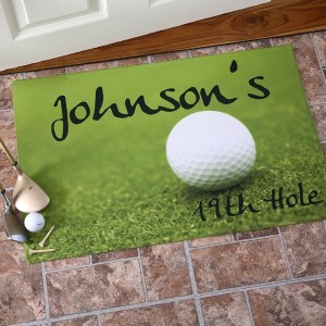 19th Hole Personalized Golf Doormat, Golfer Gifts of Thanks