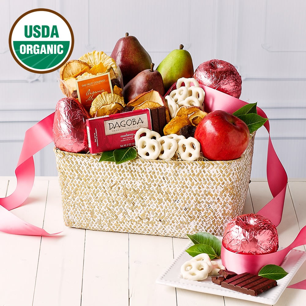 Organic Pink Fruit Basket, Delicious Valentine's Day Gift Guide for Realtors