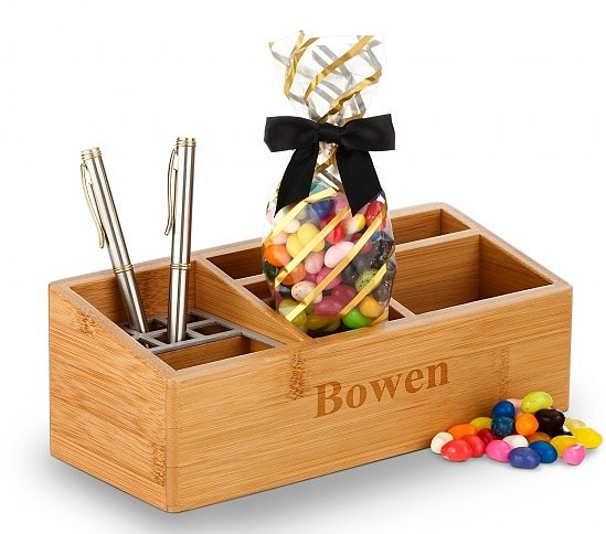 Engraved Bamboo Desk Organizer with Jelly Beans, Best Admin Day Gifts