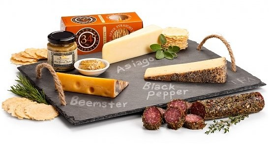 Personalized Slate with Artisan Cheeses, The Finest Gourmet Cheese Housewarming Gifts