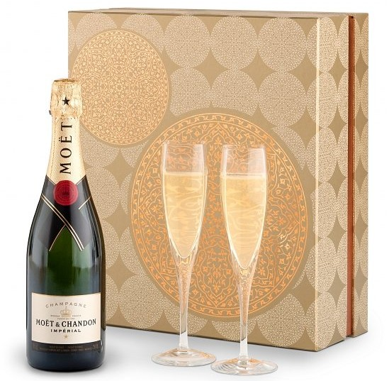 Champagne and Flutes Gift Set, Realtor Closing Gift Ideas Over $100.00