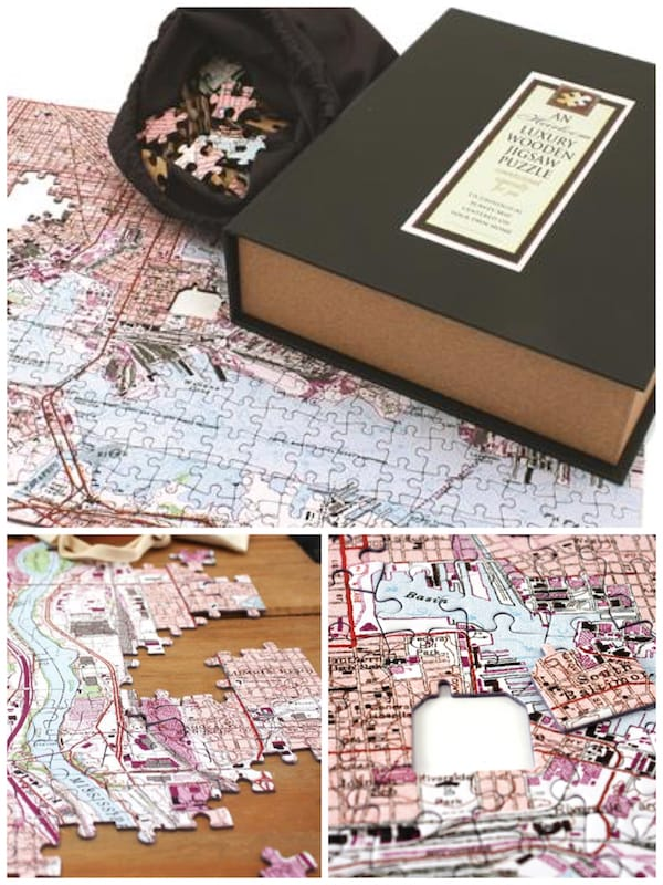Heirloom Wooden Map Puzzle Realtor Closing Housewarming Gift