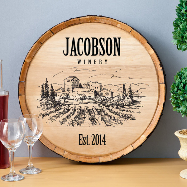 Personalized Wood Wine Barrel Sign