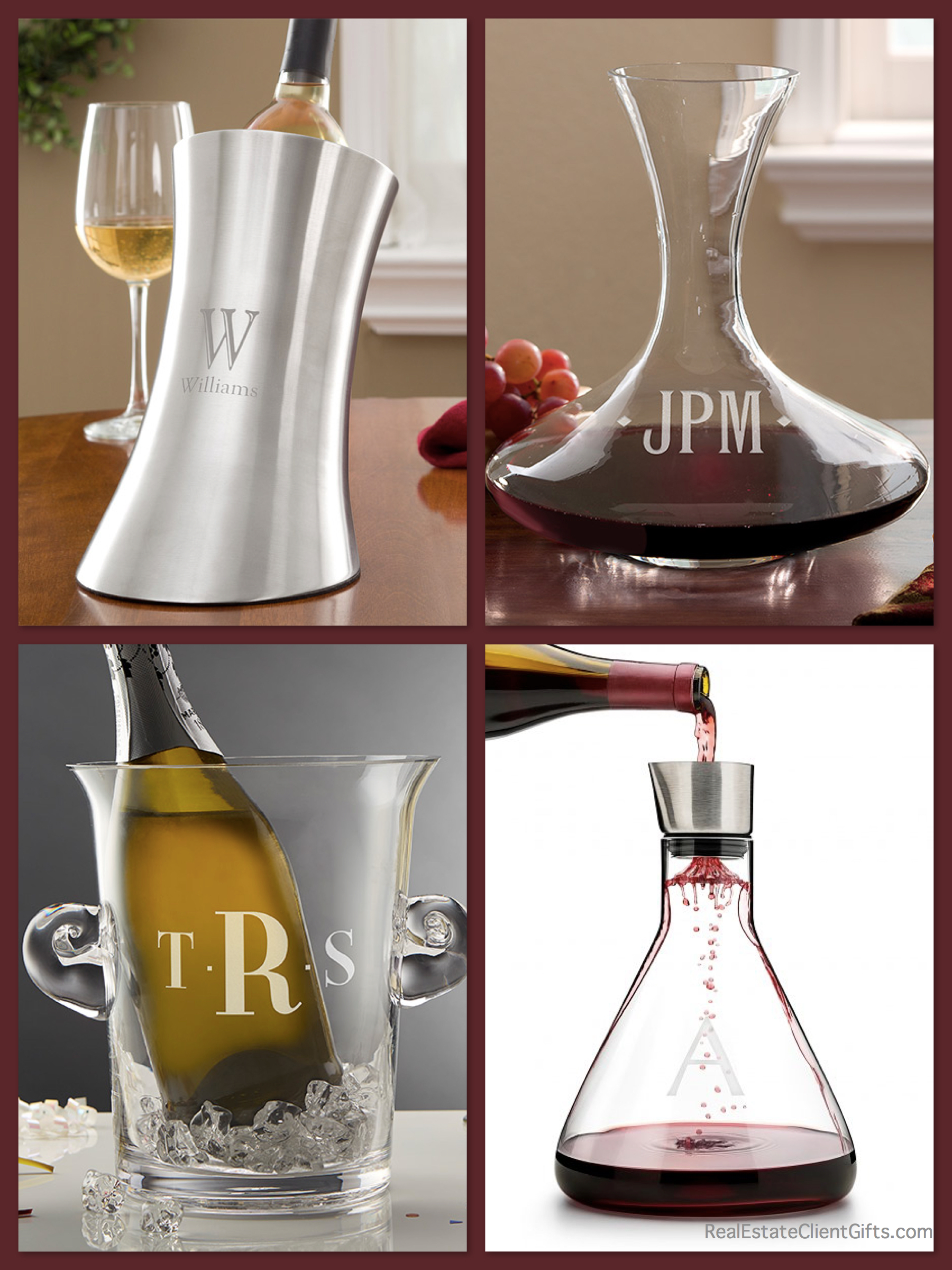 Personalized Wine Decanters and Chillers Realtor Closing Gifts & Housewarming_Gifts
