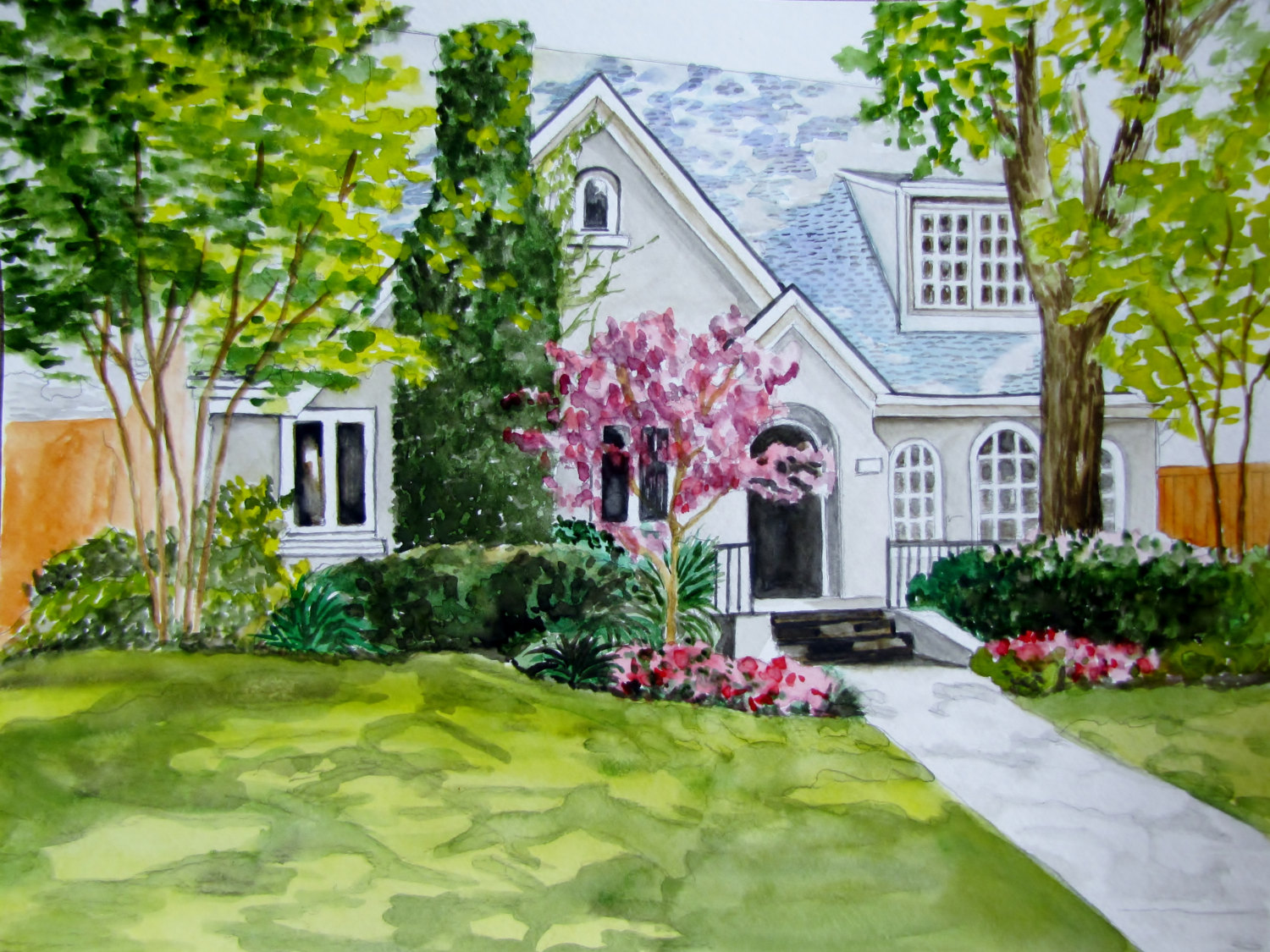 Original Watercolor Painting of Home, Realtor Closing Gift Ideas Over $100.00