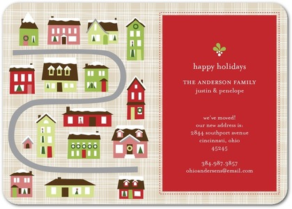 Snowy Roofs Holiday Moving Cards