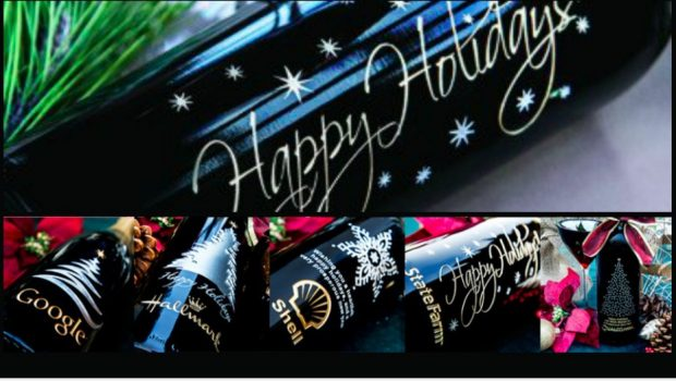 Realtor Holiday Gift of the Year Etched Wine Bottles