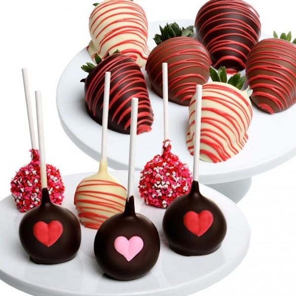 Valentine's Day Chocolate Strawberries and Cake Pops