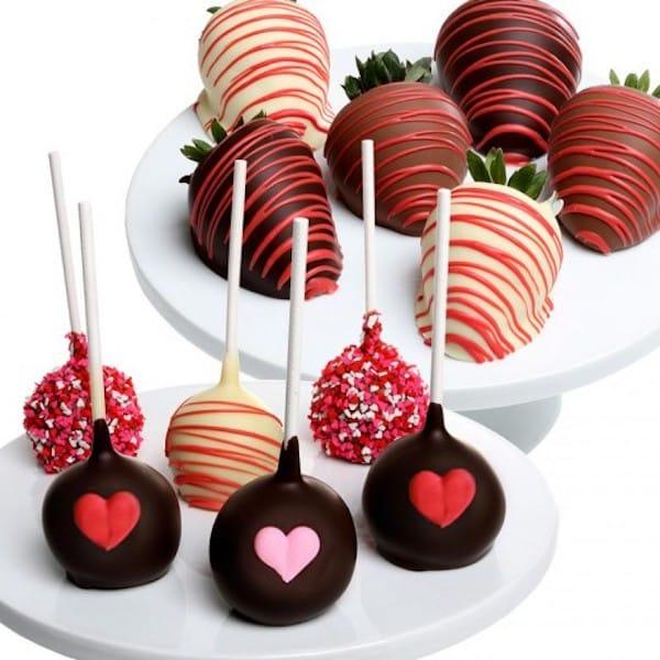 Valentine's Day Chocolate Strawberries and Cake Pops