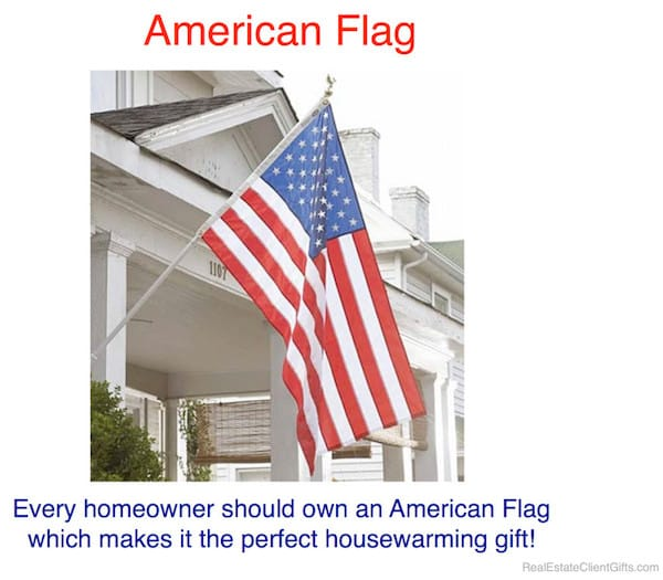 American Flag Realtor Client Housewarming Thank You Gift