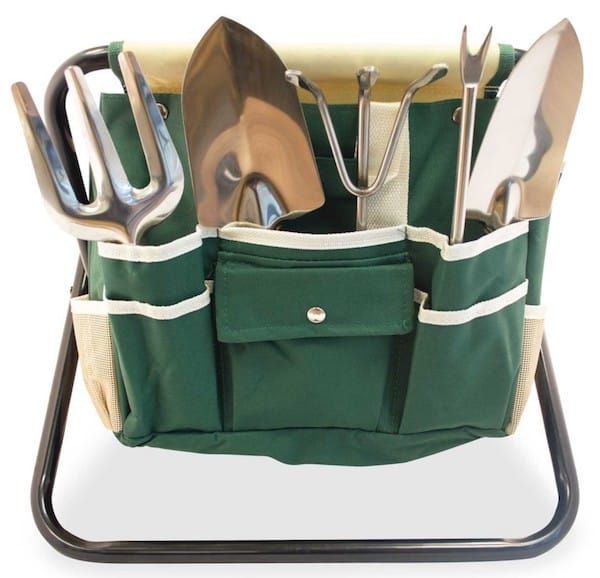 Folding Stool with Gardeners Tool Bag Realtor Closing Gift