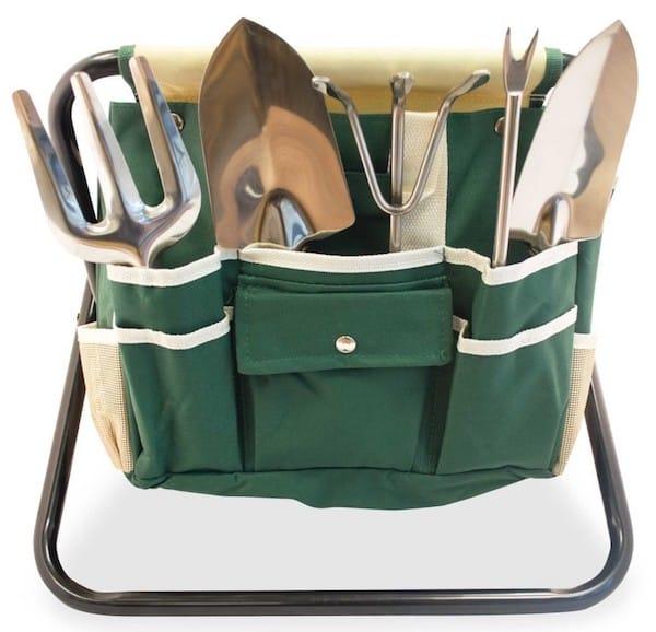 Folding Stool with Gardeners Tool Bag Realtor Closing Gift