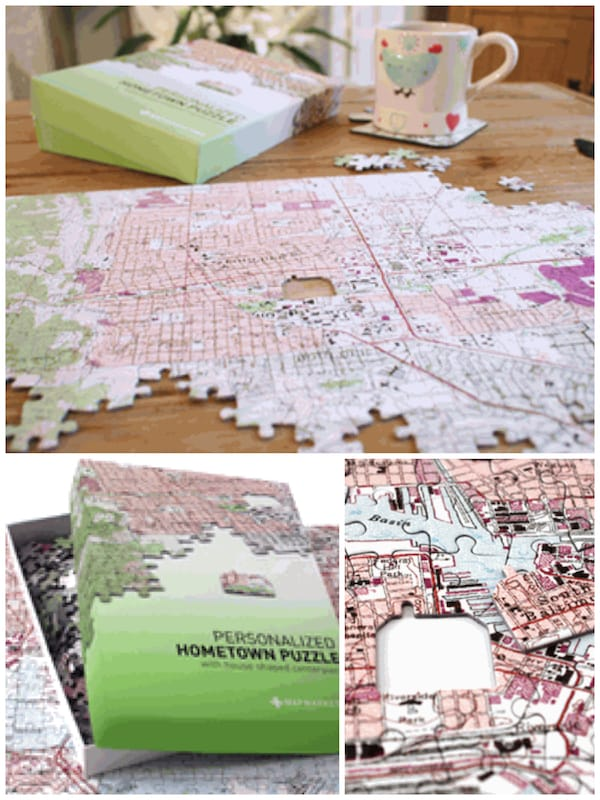 Hometown Puzzle Map Realtor Closing Housewarming Gift
