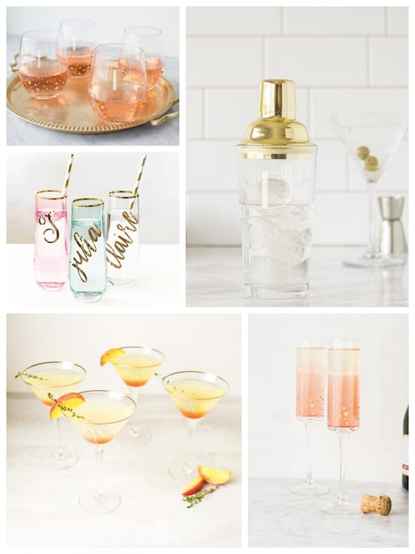 Gold Rimmed and Gold Dotted Barware Housewarming Gifts for Her