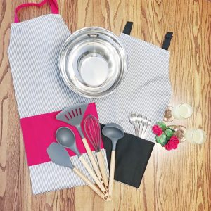 His and His Men's Pinstripe Red and Black Aprons and Kitchen Essentials Housewarming Gift