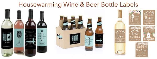 Wine and Beer Bottle Housewarming Labels