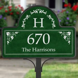 Elegant Monogram Address Garden Sign